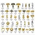 10 шт./лот, 3D золотые и серебряные шпильки для дизайна ногтей, модные формы, металлические заклепки «сделай сам», украшения для дизайна ногтей...