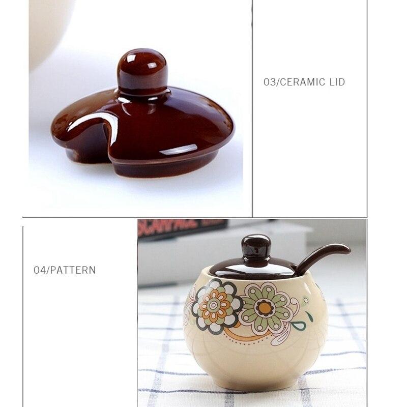 Spices Set Pepper and Salt Sugar Pot Drink Jugs Flower Design Different Colours