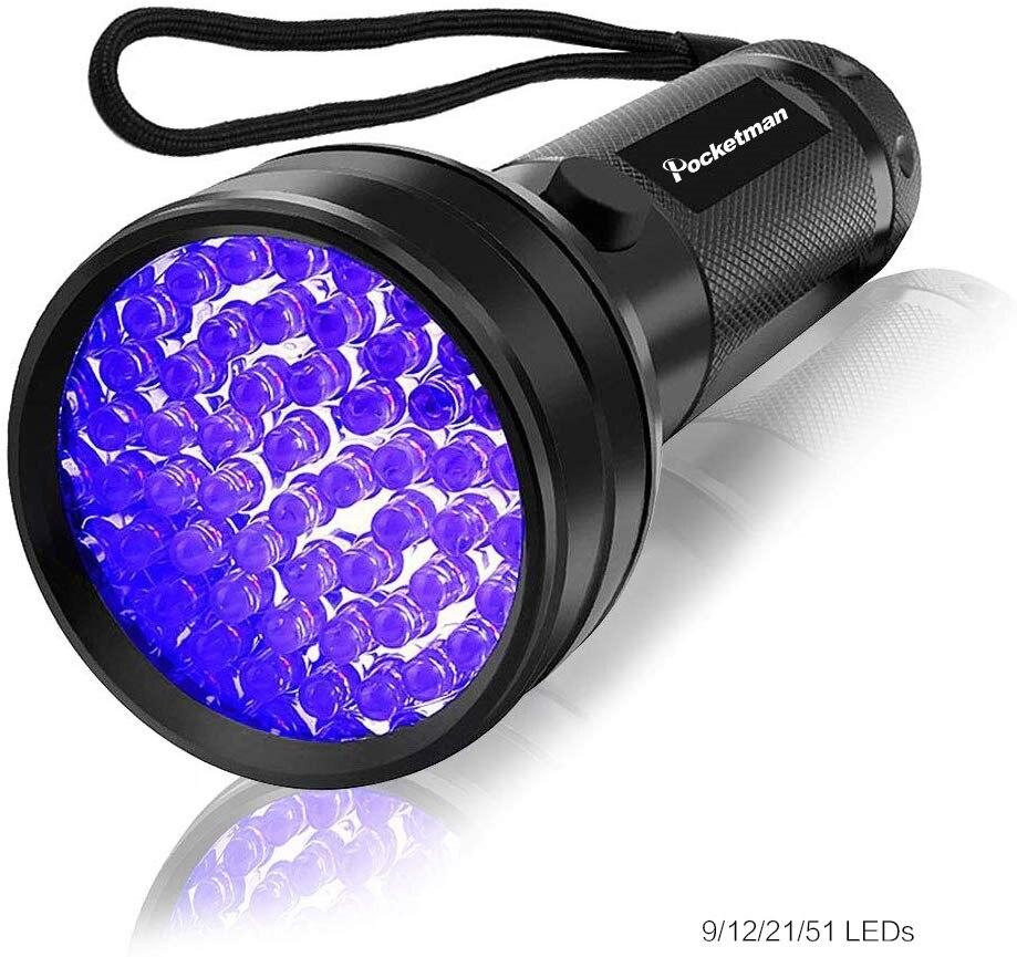 Luz negra de alta calidad, luz UV, 51LED, 21LED, 12LED, luz UV, 395-400nm, linterna UV, linterna, lámpara, luz de seguridad, detección UV