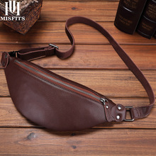 MISFITS crazy horse cow leather men chest bags women waist packs travel fanny pack shoulder small bag for cell phone