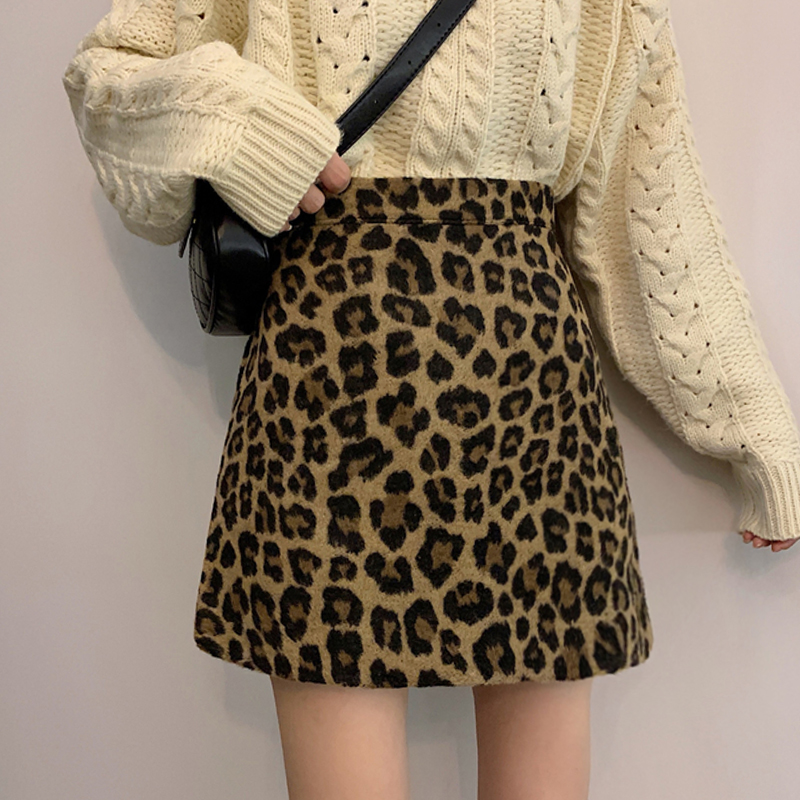 Winter Fall Fashion Womens High Waisted Animal Leopard Soft Wool Blend Leopard Bodycon Knitted Mini Skirt
