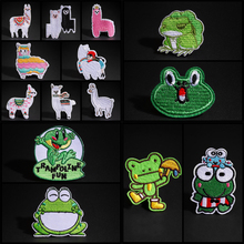 Funny Travel Frog Patches Embroidery Iron On Cute Cloth Applique Needlework Kawaii Frog King Queen Animal Alpaca Badges Stickers
