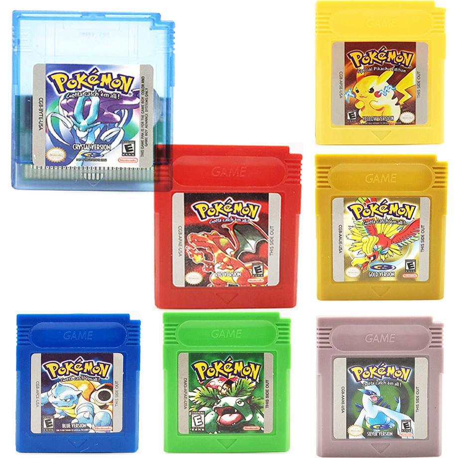 Видео игры для 16 бит картридж Pokemon игровой консоли карты серии синий зеленый с украшениями в виде серебристых кристаллов желтого и красного ...