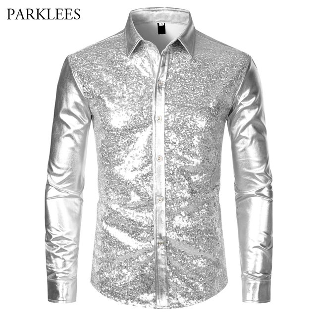 Metallic Silver Mens Stage Shirts Brand Embellished Sequins Shirt Men Social Camisa Masculina Disco Club Costume Chemise Homme