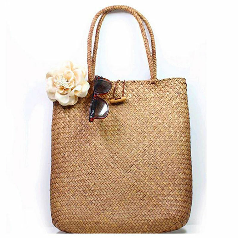 Women Handbag Summer Beach Bag Rattan Woven Handmade Knitted Straw Large Capacity Totes Women Shoulder Bag Bohemia New