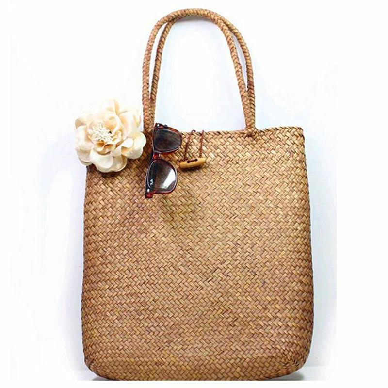 Women Handbag Summer Beach Bag Rattan Woven Handmade Knitted Straw Large Capacity Totes Women Shoulder Bag Bohemia New