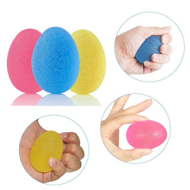 Egg-Shaped Silicone Grip Ball Hand Finger Strengthener Fitness Ball 3 Squeeze Resistances Soft Grip Ball For Hand Training
