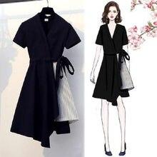 Primavera verão estilo feminino vestido de manga curta com decote em v retalhos rendas até listrado elegante vestido casual ss1951