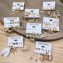 Pendientes colgantes de perlas de oro para mujeres y niñas, juego de pendientes para mujeres y niñas, aretes de gota de mariposa y corazón geométrico, joyería Vintage para mujer 2021