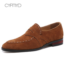 Fashion Leather Shoes Men Plus Size 45-48 Pig Suede Wear-resistant Loafers Man Sewing Slip On Formal