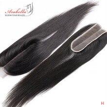 Fermeture droite 2x6 dentelle fermeture pré plumé noeuds blanchis rapport moyen Arabella partie moyenne avec bébé cheveux Remy dentelle fermeture
