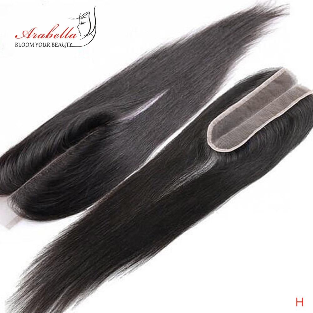 Arabella-extensiones de pelo con encaje de malla, accesorio de 2x6 con nudos blanqueados y raya al medio, pelo de bebé Remy