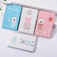 Vicney Cute Bear Desktop Single-Sided PU Leather Folding Makeup Princess Mirror Medium Portable