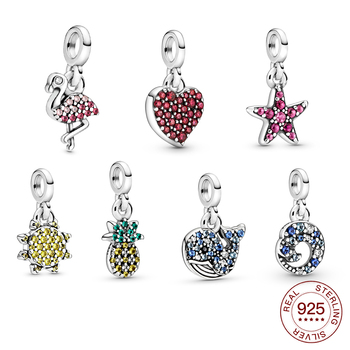 2020 New 925 Sterling Silver Heart Flamingo Pendant Charm Me Bracelet Fit Original Pandora DIY Jewelry  For Women