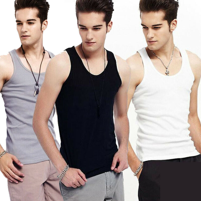 2019 Men Tank Tops High Quality Cotton Undershirt Bodybuilding Singlet Fitness Sleeveless Vest Men Tank Tops Solid Color Tank
