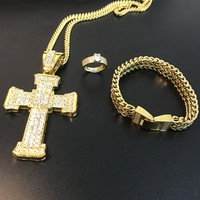 Hip Hop Men Gold Color Necklace Ice Out Cuban Crystal Miami Chain Men Cross Necklace Jewerly Combo Set Hip Hop Necklace