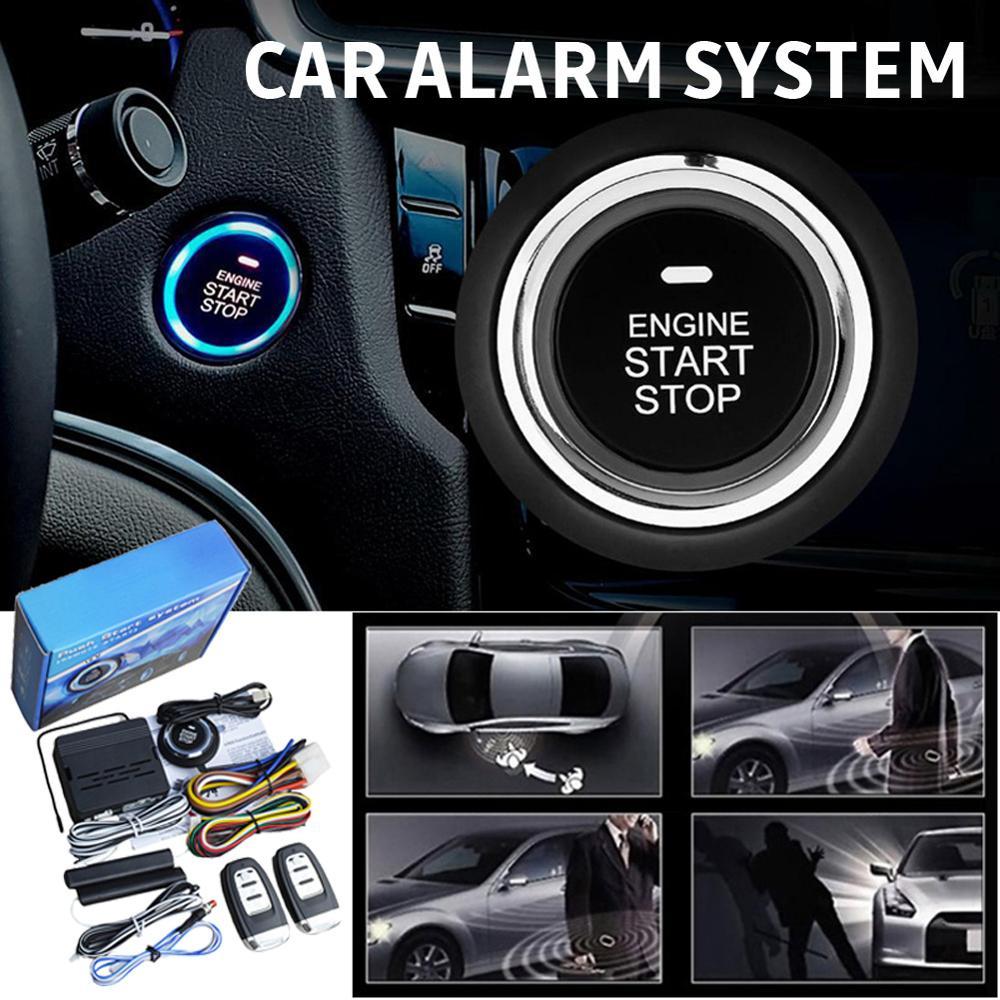 Car Alarm System PKE Keyless Entry Engine Start Alarm System Push Button Remote Starter Universal Smart Car Start Button System