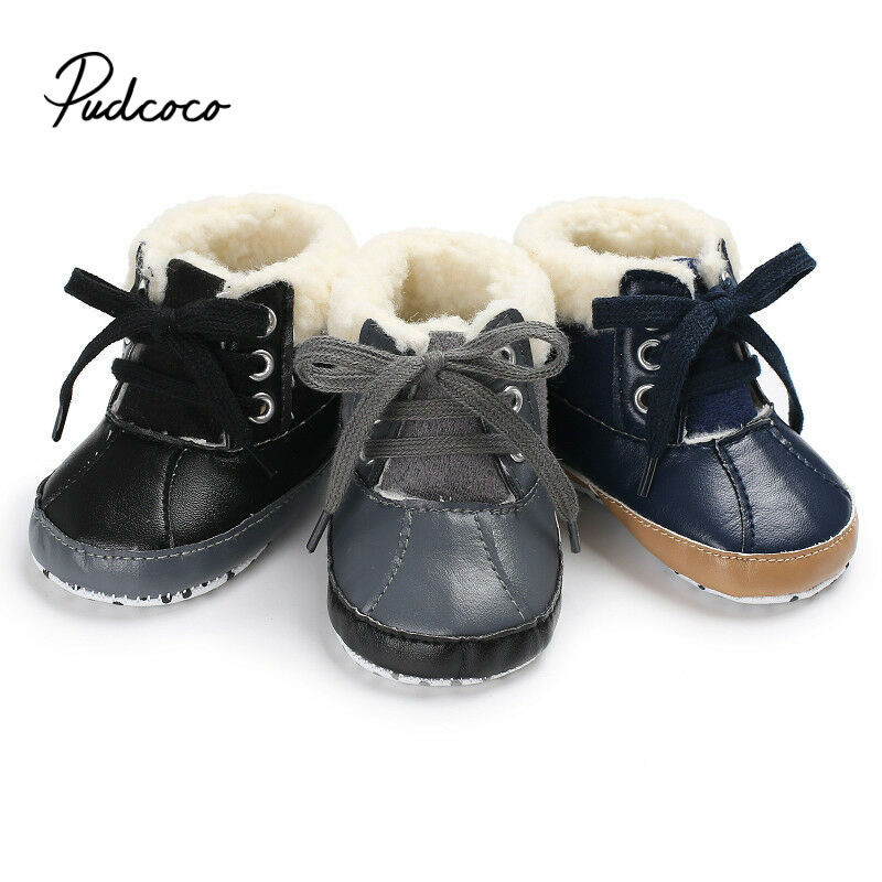Pudcoco 2020 New Winter Baby Boys Shoes Winter Infants Warm Shoes Faux Fur Boys Baby Booties Leather Boy Baby Boots
