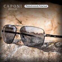 CAPONI Square Mens Sunglasses Vintage Alloy Photochromic Driving Glasses Polarized Fashion Retro Goggles Shadow BS8724