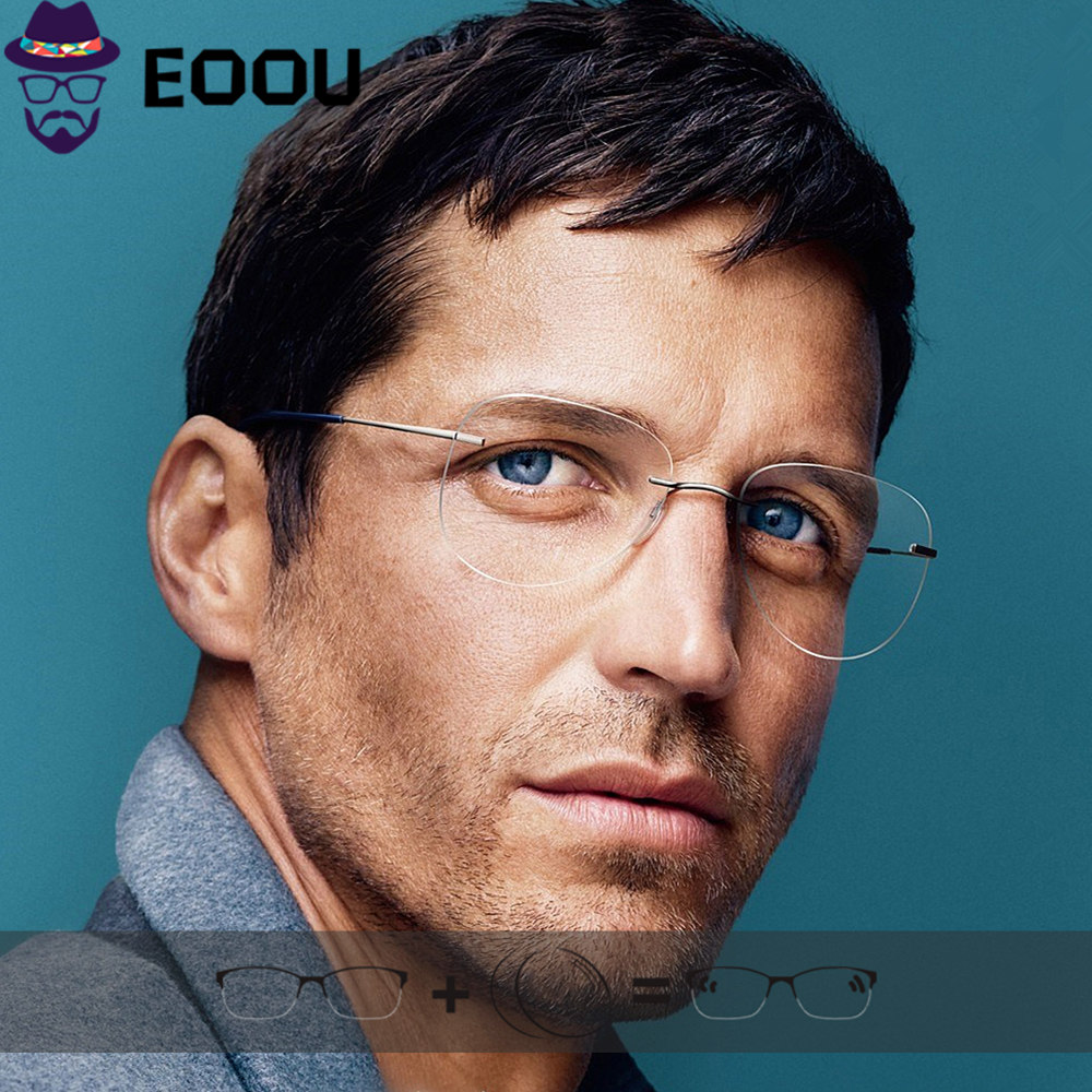 Aviator Rimless Glasses Men's Optical Glasses Prescription Anti Blue Light Oculos Myopia Multifocal Lens Men Frame Glasses