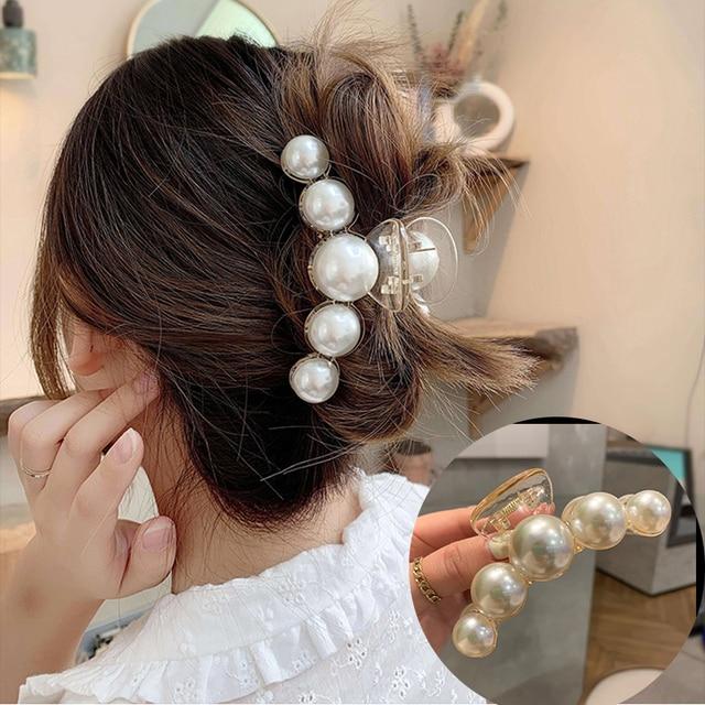 Big Pearl Hair Claw For Women Ladies Makeup Hair Barrettes Hair Accessories Korean Cross Crab Hair Clip Fashion Girl Headwear 1
