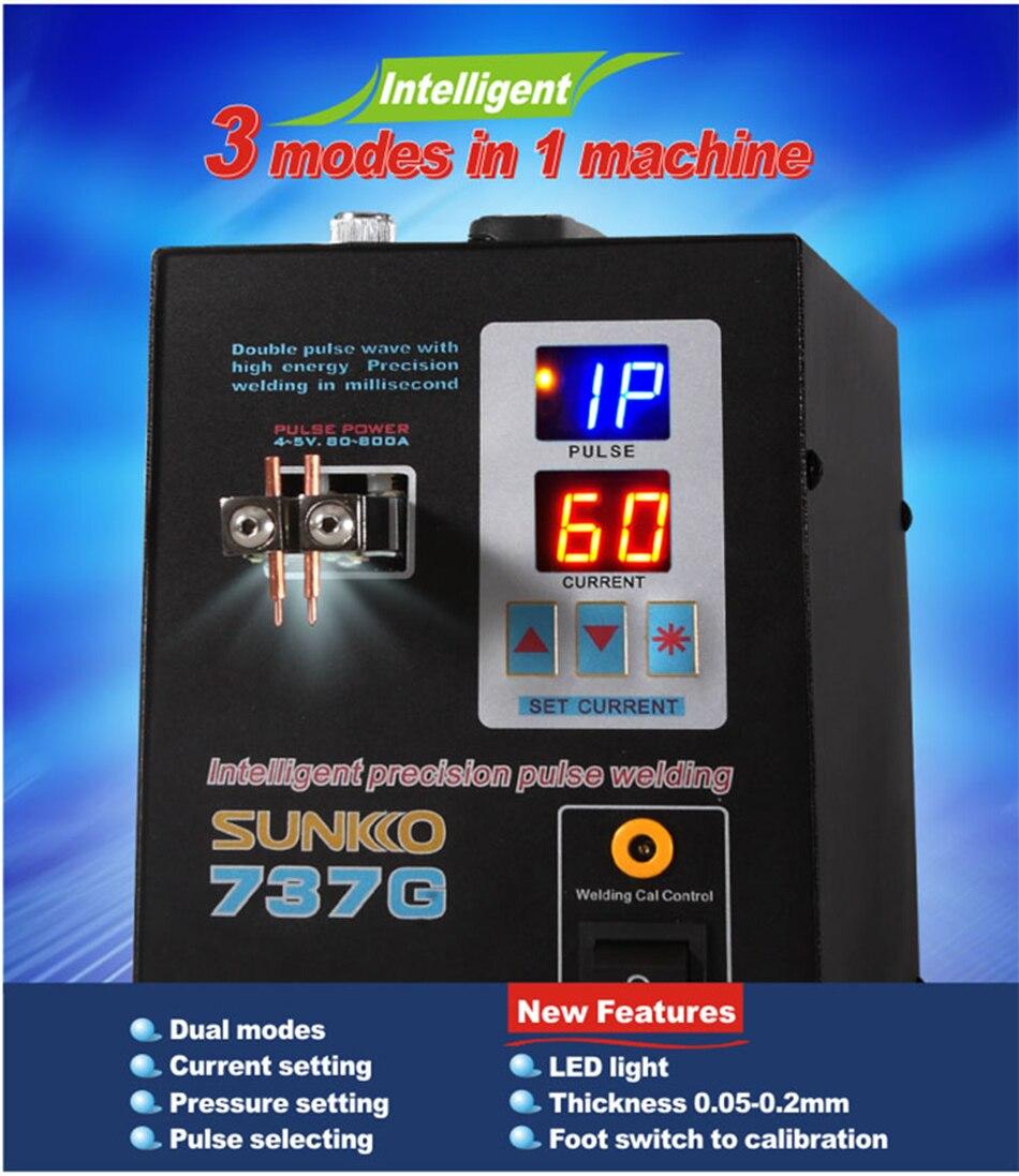 SUNKKO 737G Double mode 18650 machine de soudage par points de batterie double impulsion Double affichage machine de soudage de batterie
