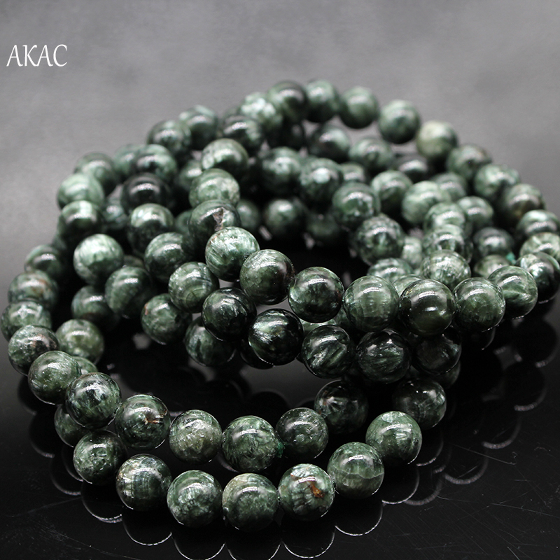 Free shipping 8 8.5mm / 9 9.5mm natural green seraphinite bracelet for jewelry diy making designBeads