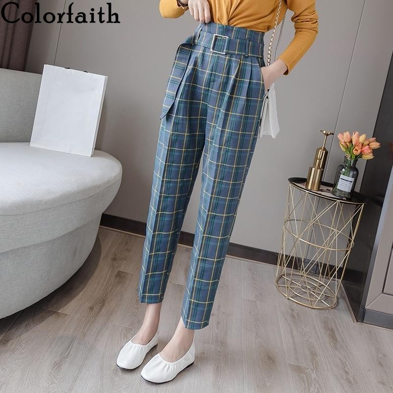 Colorfaith 2019 Autumn Winter Women Pants High Waist Casual Sashes Pockets Colour Plaid Zipper Office Lady Suit Trousers P7211