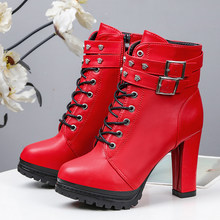 Rimocy Fashion Women 10 Cm Super High Heels Platform Ankel Boots Rivet Buckle Autumn Winter Shoes Woman Red Leather Botas Mujer(China)