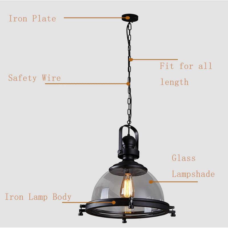 Винтажный Железный светодиодный подвесной светильник Лофт промышленный кухонный подвесной светильник для столовой Декор домашние осветительные приборы стеклянный абажур