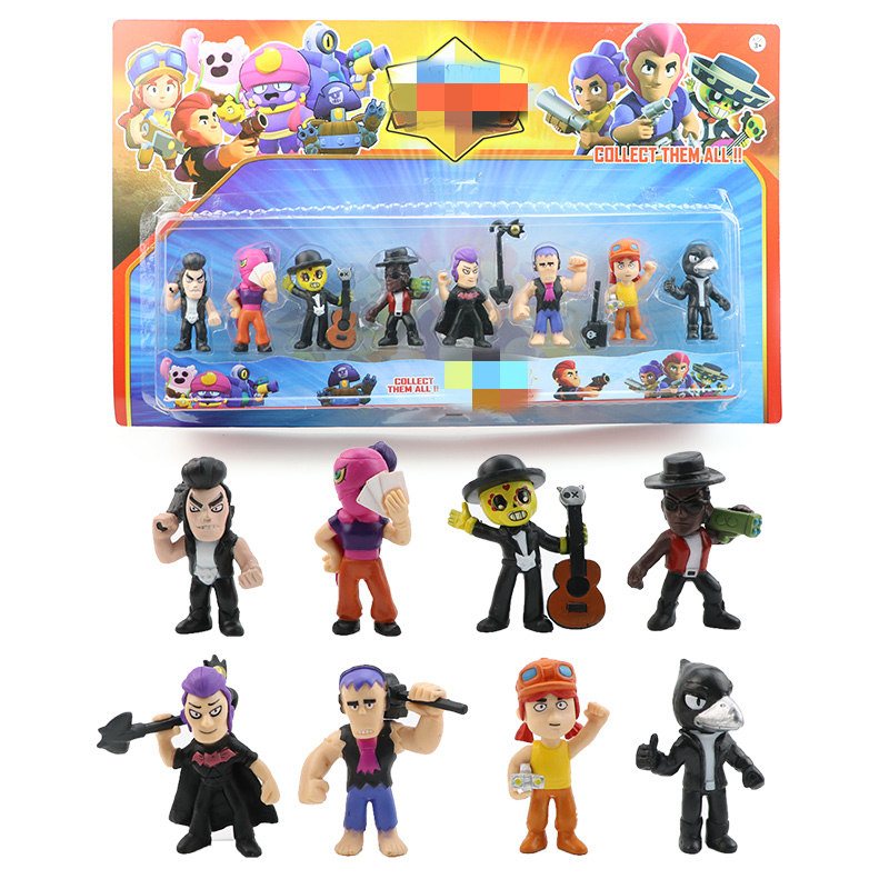 4/8/12/24 pcs/set Brawl Game Action Figures Cartoon Shelly Nita Colt Jessie PVC Collection Model Dolls For Kids Boys Toys Gifts