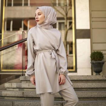 2 Pieces Dubai Muslim Lace-up Tops And Pants Suits Female Kaftan Oman Turkish Hijab Muslim Islamic Dress Ramadan Ropa F1493