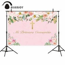 Allenjoy arrière plans photophone communion bébé fille croix rose marbre fleur enfant fête photographie décors tissu photocall