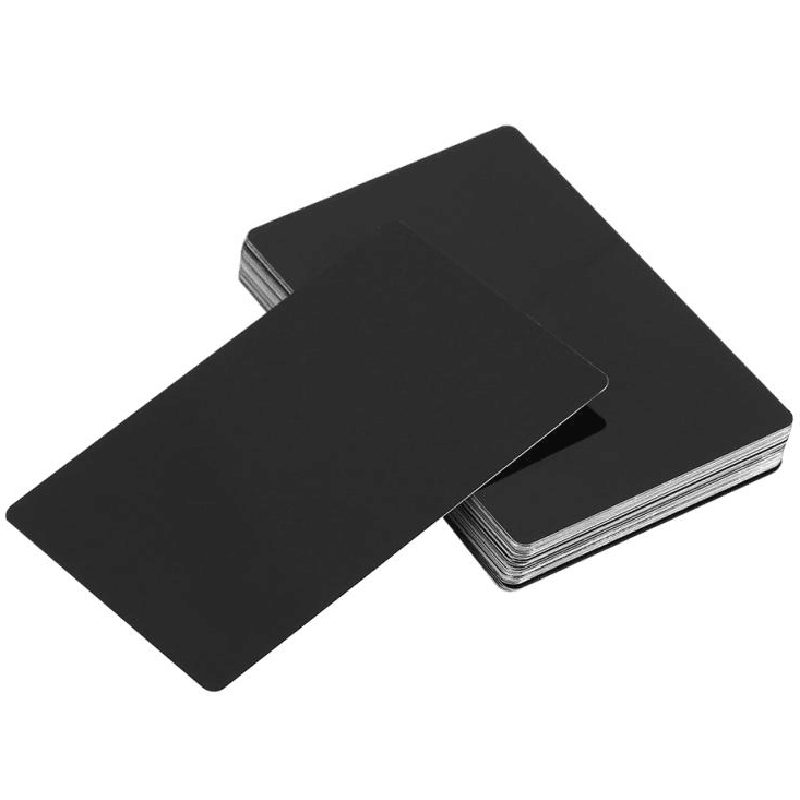 HOT-100Pcs Black Aluminum Alloy Card Engraving Metal Business Access Business Card Blank 0.22Mm Thickness