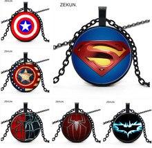 2019 / Hot Sale, New Superman Captain Spiderman Batman Pendant Necklace Bump Glass Childrens Gift