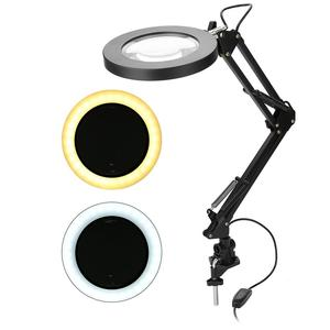 Image 2 - 5X USB Magnifying Glass with LED Light Flexible Table Clamp Third Hand Soldering/Reading/Jewelry Magnifier Desk Lamp Magnifier