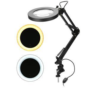 Image 2 - 5X USB увеличительное стекло с светодиодный светильник Гибкий Настольный зажим сторонняя пайка/чтение/Ювелирные изделия Лупа настольная лампа лупа