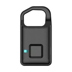 Image 2 - Big Promotion Fingerprint Lock USB Rechargeable Keyless Anti Theft Padlock Suitcase Door Lock Burglar Alarm Security Free Ship