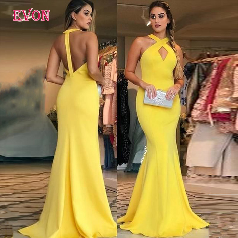 Vestido De Fiesta De Noche Sexy Halter Sleeveless Mermaid   Evening     Dresses   2020 Custom Made Backless Prom   Dress   Robe De Soiree