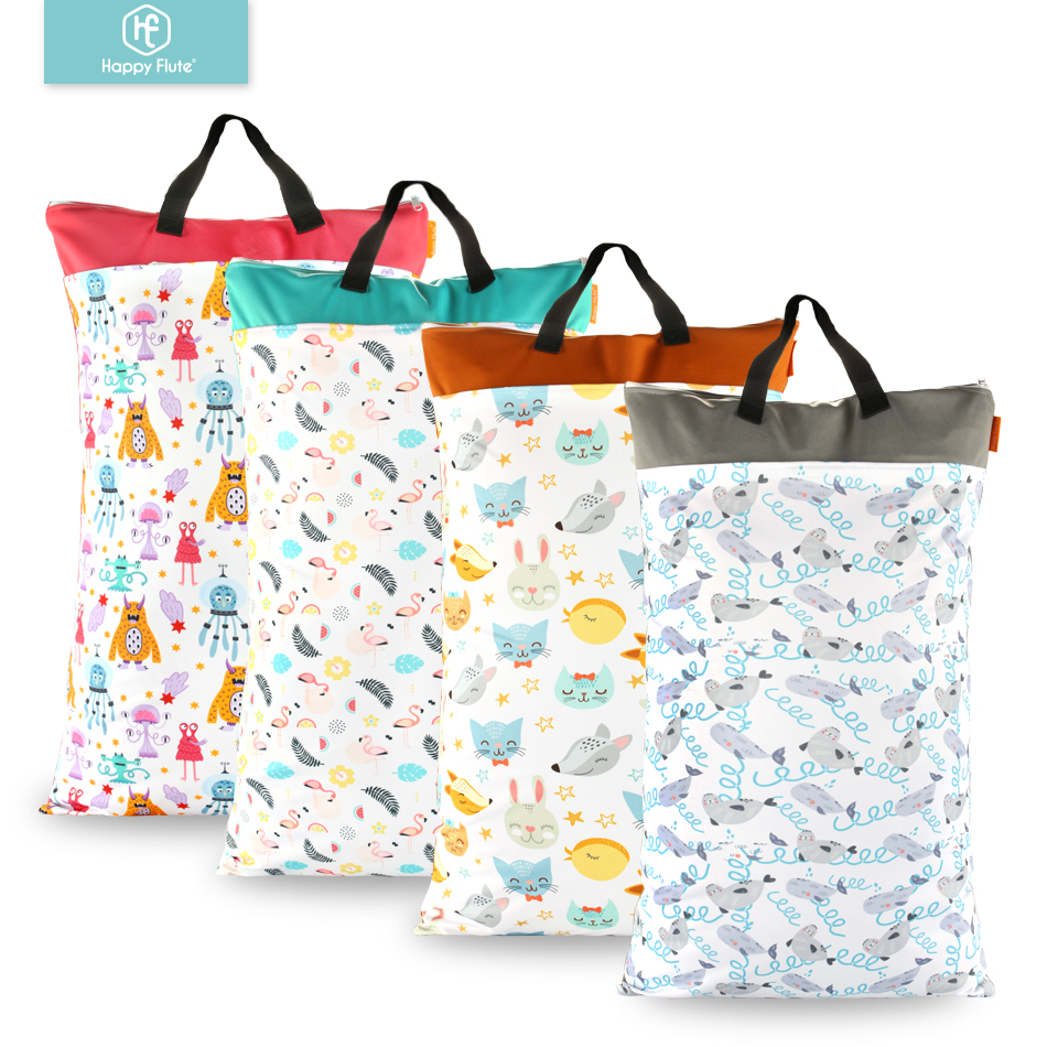 Happy flute 1 pcs Large Hanging Wet Dry Pail Bag for Cloth Diaper Inserts Nappy Laundry Happy flute 1 pcs Large Hanging Wet/Dry Pail Bag for Cloth Diaper,Inserts,Nappy, Laundry With Two Zippered Waterproof,Reusable