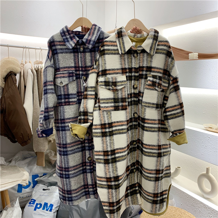 2020 Spring Turn Down Collar Women Woolen Coat Plaid Print Elegant Wool Jacket Women Autumn Long Coat Casaco Feminino