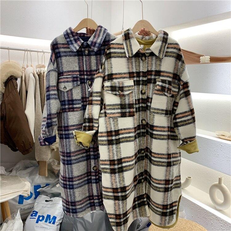 2020 Spring Turn Down Collar Women Woolen Coat Plaid Print Elegant Wool Jacket Women Autumn Long Coat Casaco Feminino