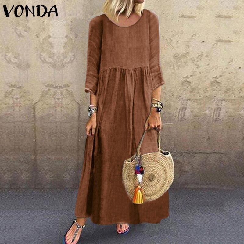 Vintage Maxi vestido VONDA para mujer Casual cuello redondo Vestidos de fiesta de noche otoño Robe mujer de talla grande vestido de verano bohemio Sexy Vestidos