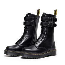 Ботинки мартинсы Женские Кожаные Замшевые ботинки на платформе