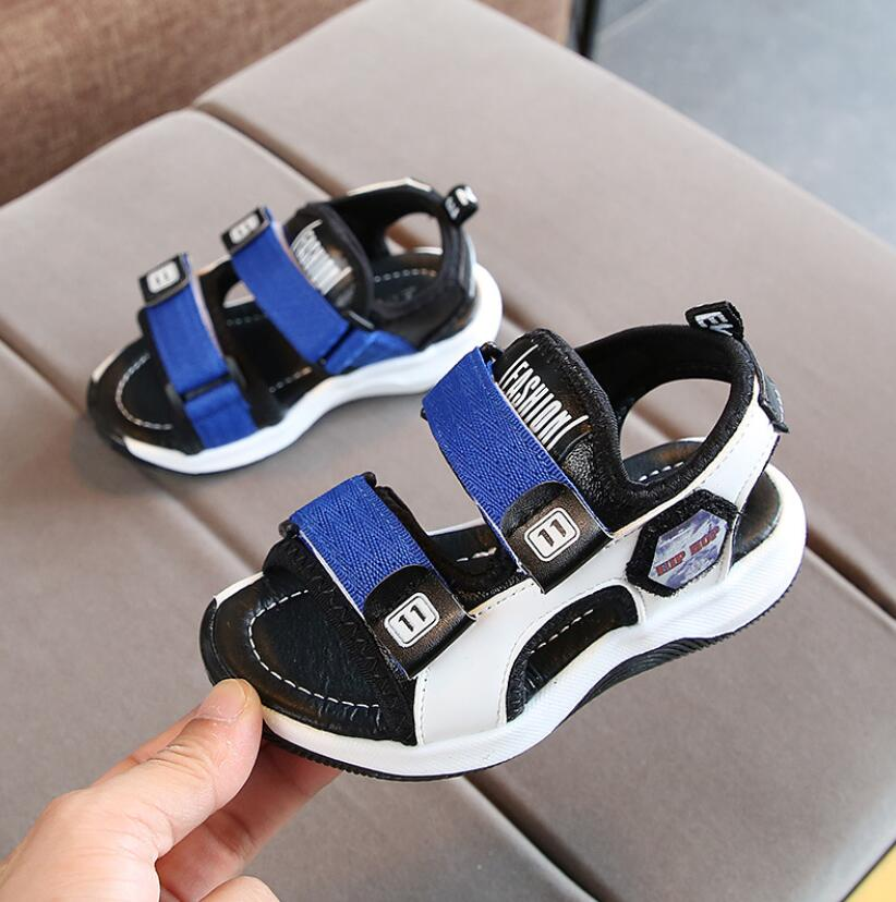 Summer Boys Leather Sandals For Baby Flat Children Beach Shoes Kids Sports Soft Non-slip Casual Toddler Sandals Euro 21~30