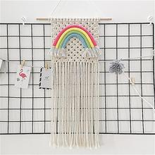 Macrame Woven Wall Hanging Rainbow Bohemian Room Geometric Art Tapestry Decoration Supplies