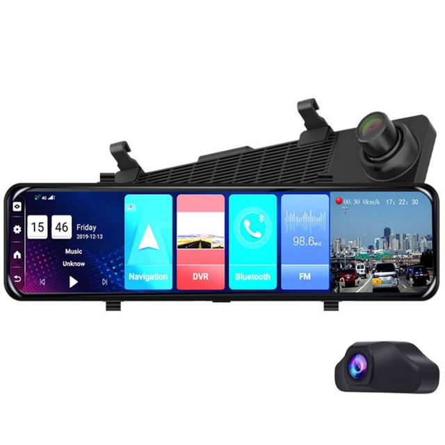 12 inch Car DVR Rearview Mirror 4G Android 8.1 Dash Cam GPS Navigation Full HD 1080P Car Video Recorder DVR 2