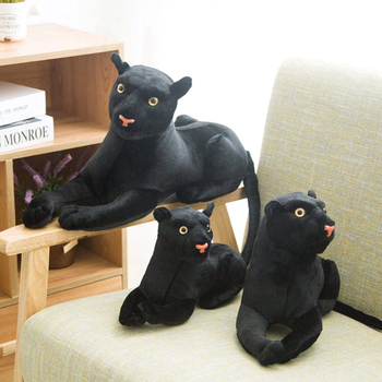 New 1PC 30-46CM Simulation Animal Big Leopard Plush Toys Black Panther Soft Stuffed Pillow Leopard Animal Doll Toys For Children new design turquoise blue panther leopard bracelets