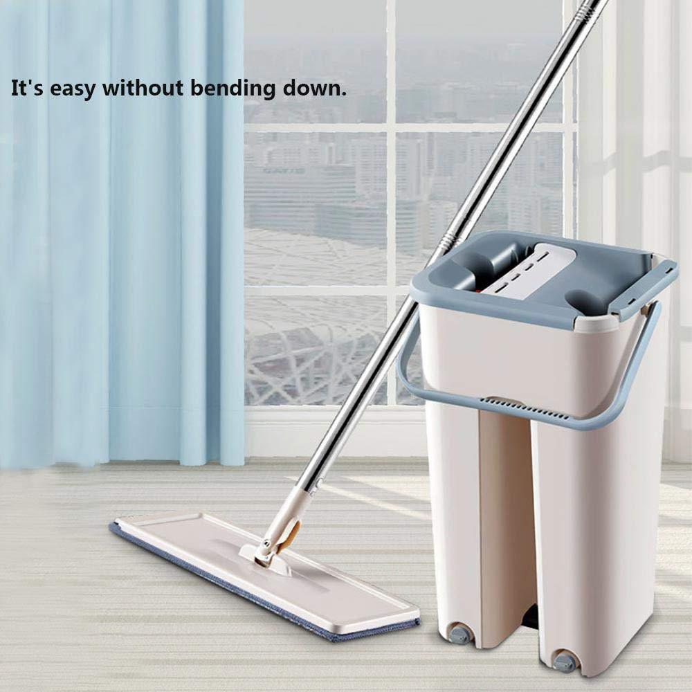 Squeeze Flat Mop Hand-Free Wringing Floor Cleaning Mop Microfiber Mop Pads Mop Bucket with Wringer 360° Swivel Head Reusable
