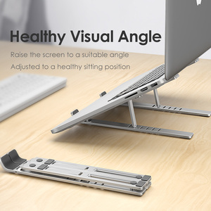 Image 1 - LINGCHEN Laptop Stand for MacBook Pro Notebook Stand Foldable Aluminium Alloy Tablet Stand Bracket Laptop Holder for Notebook